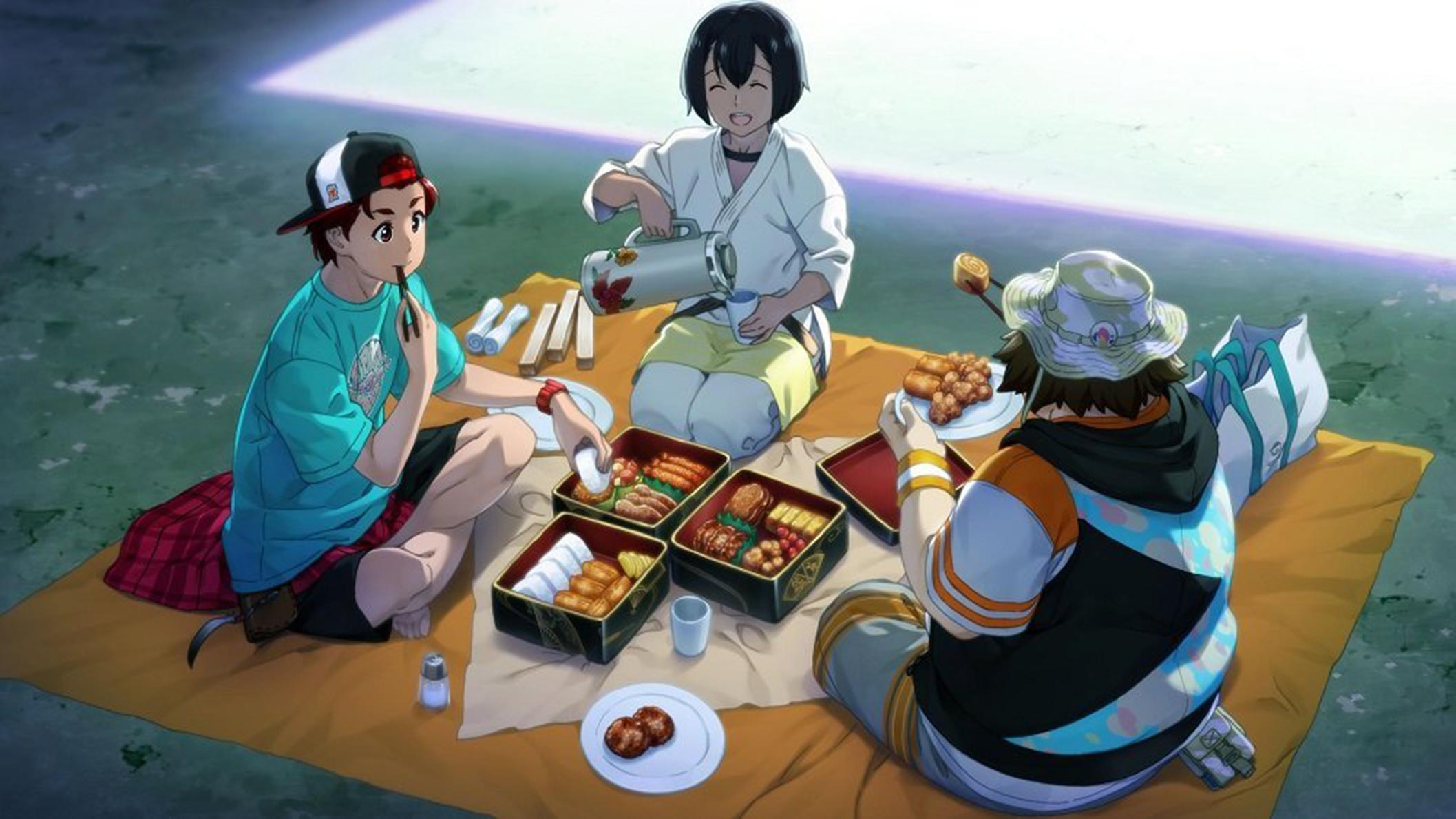 DasH partage un repas avec les personnages de Robotics;Notes !