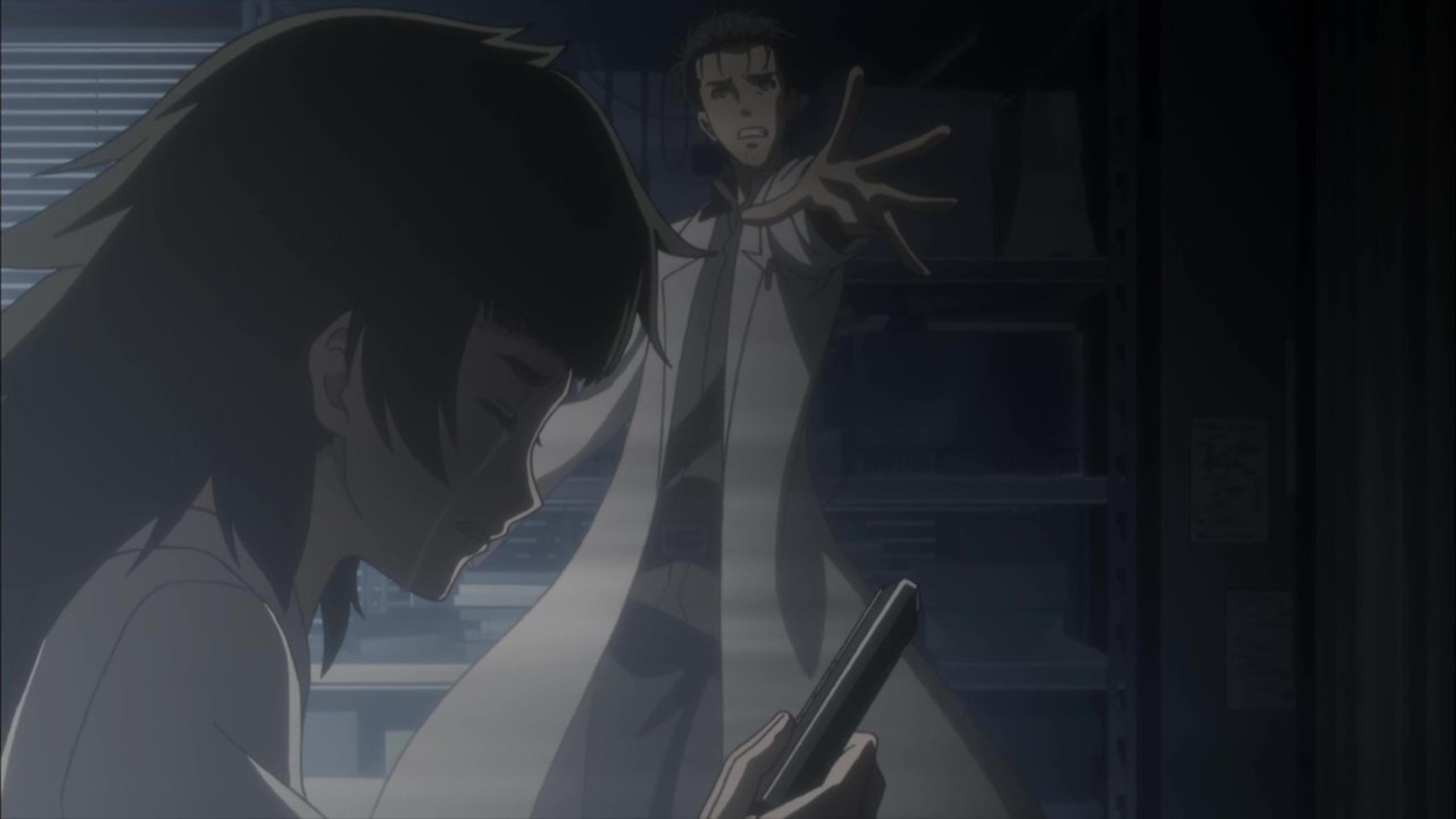 Okabe et Maho Hiyajo disent adieu à Amadeus Kurisu (Episode 22)